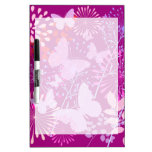 Spring Butterfly Garden Vibrant Purple Pink Girly Dry Erase Board