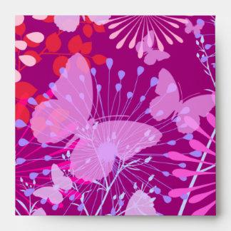 Spring Butterfly Garden Vibrant Purple Pink Girly Envelope