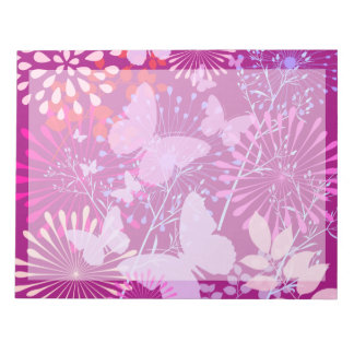 Spring Butterfly Garden Vibrant Purple Pink Girly Notepads