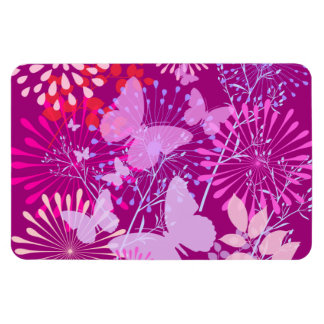 Spring Butterfly Garden Vibrant Purple Pink Girly Magnets