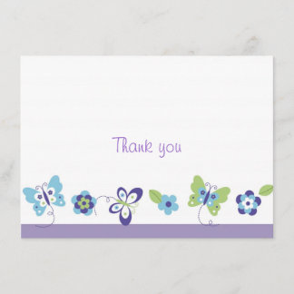 Spring Butterfly Thank You Note Cards
