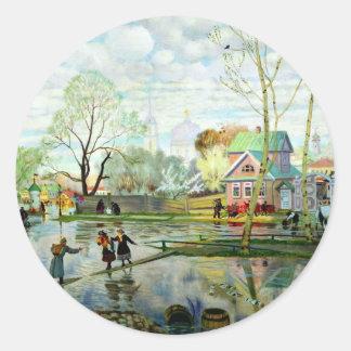 Spring by Boris Kustodiev Classic Round Sticker