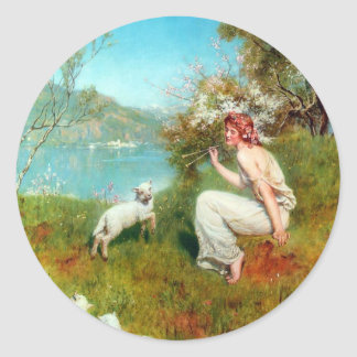 Spring By John Collier Classic Round Sticker