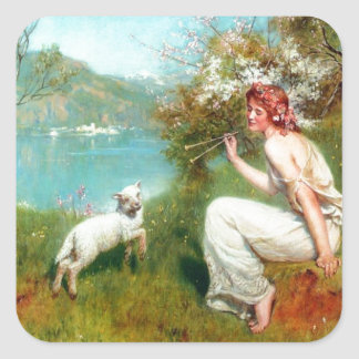 Spring By John Collier Square Sticker