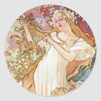 Spring by Mucha Classic Round Sticker