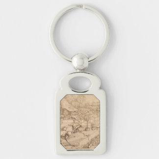 Spring by Pieter Bruegel the Elder Silver-Colored Rectangular Metal Keychain