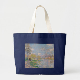 Spring by the Seine by Claude Monet Canvas Bag