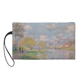 Spring by the Seine by Claude Monet Wristlet Clutches