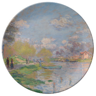 Spring by the Seine by Claude Monet Dinner Plate