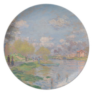 Spring by the Seine by Claude Monet Melamine Plate