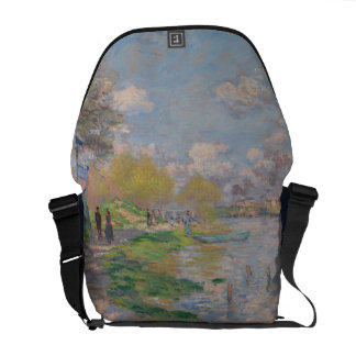 Spring by the Seine by Claude Monet Messenger Bags