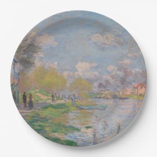 Spring by the Seine by Claude Monet Paper Plate
