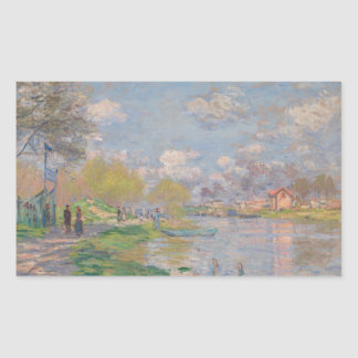 Spring by the Seine by Claude Monet Rectangle Sticker