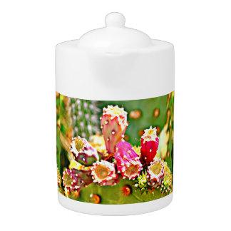 Spring Cactus Bulbs Tea Pot