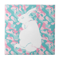 Spring  Camouflage Easter Bunny Tile
