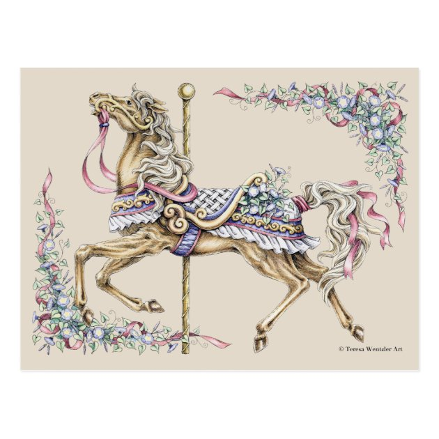 Spring Carousel Horse Drawing Post Card Zazzle Com