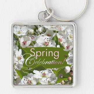 Spring Celebration White Blossoms Keychain