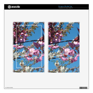 spring cherry blossom tree in blue sky decal for kindle fire