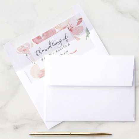 Spring Cherry Blossom Wedding Envelope Liner