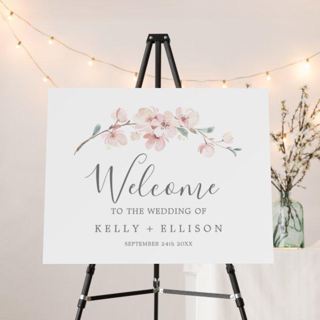 Spring Cherry Blossom Wedding Welcome Foam Board