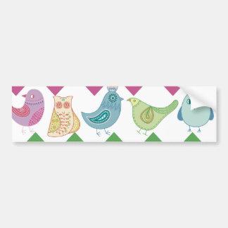 Spring Chevron Stripes Cute Whimsical Birds Owl Bumper Sticker