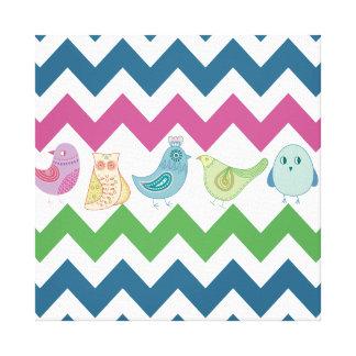 Spring Chevron Stripes Cute Whimsical Birds Owl Canvas Print
