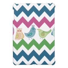 Spring Chevron Stripes Cute Whimsical Birds Owl Cover For The iPad Mini