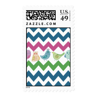 Spring Chevron Stripes Cute Whimsical Birds Owl Postage Stamps