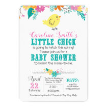 Spring Chick Baby Shower Gender Neutral Blue Pink Invitation