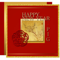 Spring Chinese Pig Year 2019 Square Invitation