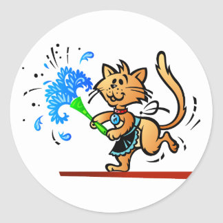 Spring Cleaning Kitty Cat Classic Round Sticker
