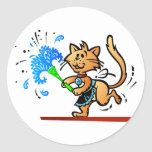 Spring Cleaning Kitty Cat Round Sticker