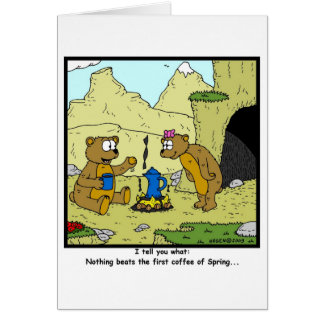Spring Coffee: Bear Cartoon Card