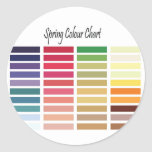 Spring Color Chart Classic Round Sticker