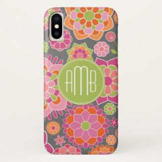 Spring Colorful Floral Pattern Custom Monogram iPhone X Case