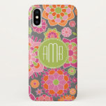 "Spring Colorful Floral Pattern Custom Monogram iPhone X Case<br><div class=""desc"">A design with pinks and oranges and an area to add your monograms. Trendy colors and patterns include bright flowers. If you need to adjust the initials,  click on the customize button and make changes.</div>"