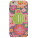 Spring Colorful Floral Pattern Custom Monogram Tough iPhone 6 Plus Case