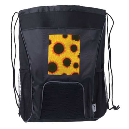 Spring colorful pattern sunflower drawstring backpack