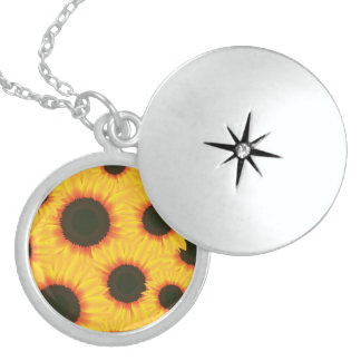 Spring colorful pattern sunflower locket necklace