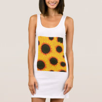 Spring colorful pattern sunflower sleeveless dress