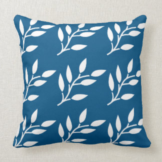Spring colors white leaf pattern on snorkel blue throw pillow