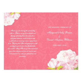 Spring Coral Pink Peony Wedding Bi Fold Programs Flyer