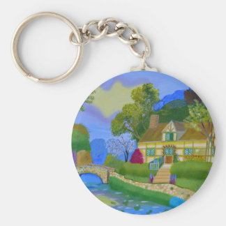 Spring Cottage Keychain