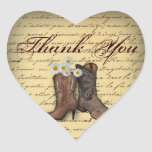 Spring Cowboy Boots Western Country Wedding Heart Stickers