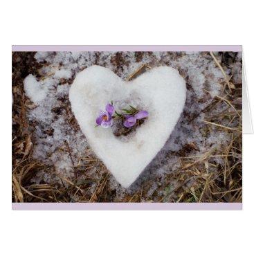 Wedding Themed Spring crocus in snow heart photograph card