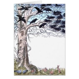 Spring Crows and Bunnies Card