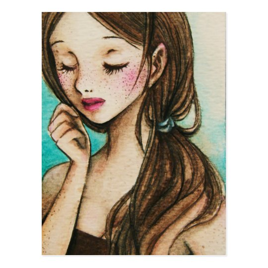 Spring (cute girl with freckles watercolour art) postcard