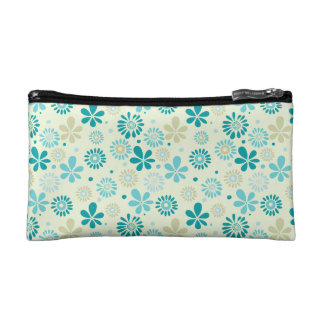Spring Cute Teal Blue Abstract Flowers Pattern Cosmetic Bag