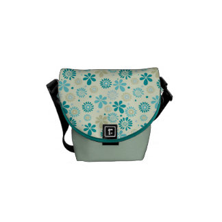 Spring Cute Teal Blue Abstract Flowers Pattern Courier Bag