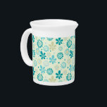 """Spring Cute Teal Blue Abstract Flowers Pattern Drink Pitcher<br><div class=""""desc"""">Spring Cute Teal Blue Abstract Flowers Pattern for you. You can add your monograms,  text,  name or photos onto this design by clicking the Customize it button. Enjoy it and Have fun!</div>"""